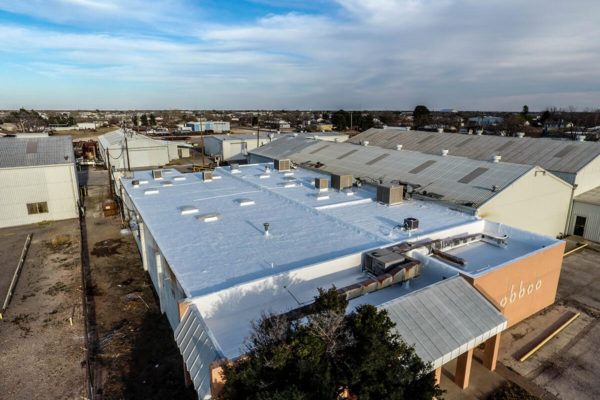 Spray-Foam-Roof-Coating-complete-on-flat-roof-2